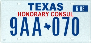 Texas government license plates for Consul license